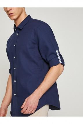 قميص رجالي كم طويل - ازرق داكن
