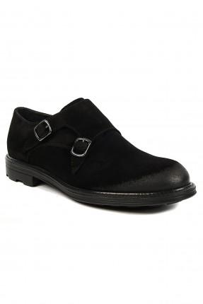 حذاء رجالي بحزام مزدوج كلاسيكي - اسود