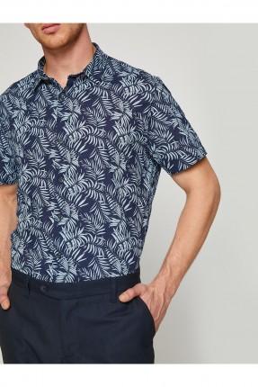 قميص رجالي مع نقشات - ازرق داكن