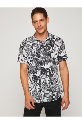 قميص رجالي نصف كم مع نقشات