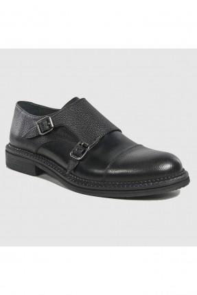 حذاء رجالي بحزام مزدوج رسمي - اسود