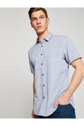 قميص رجالي نصف كم - ازرق