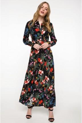 فستان سبور موديل قميص منقش بورد - اسود
