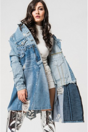جاكيت نسائي جينز طويل ممزق - ازرق