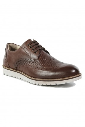 حذاء رجالي جلد برباط رسمي - بني