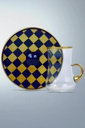 طقم كاسات شاي 6 اشخاص - كارو ذهبي / كحلي