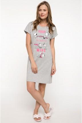 قميص نوم مع طبعة - رمادي