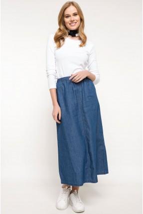 تنورة طويلة جينز مع مطاط - ازرق