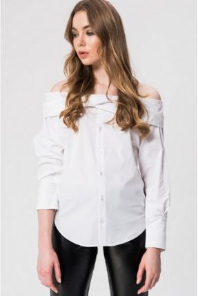 قميص نسائي باكتاف مفتوحة - ابيض