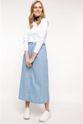تنورة طويلة جينز مع مطاط - ازرق فاتح