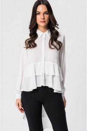 قميص نسائي مع كشكش - ابيض