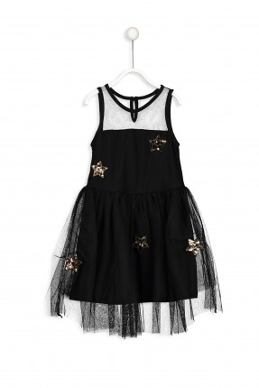 فستان اطفال بناتي تول _ اسود