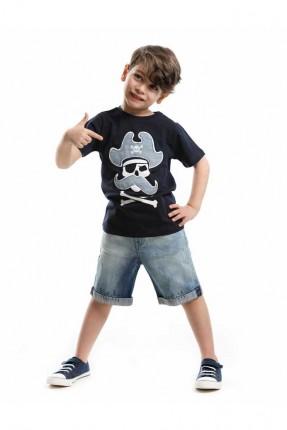 طقم اطفال ولادي جينز مع طبعة قرصان