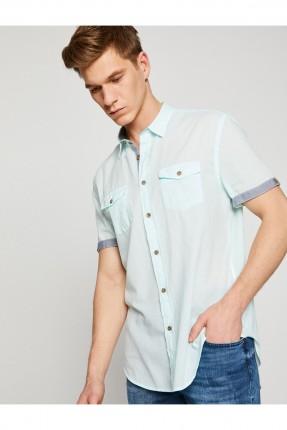 قميص رجالي مع جيب على الصدر