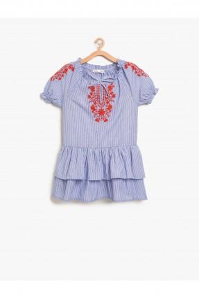 فستان اطفال بناتي مطرز مع كشكش