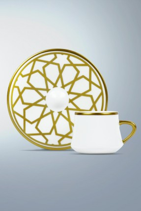 طقم فناجين قهوة 6 اشخاص - مزخرف ذهبي
