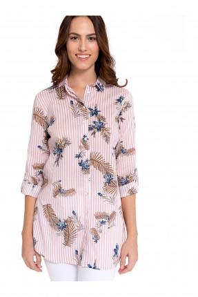 قميص نسائي طويل مزهر