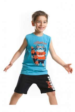 طقم اطفال ولادي مع رسمي - ازرق