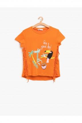 تيشرت اطفال بناتي مع شراشيب _ برتقالي