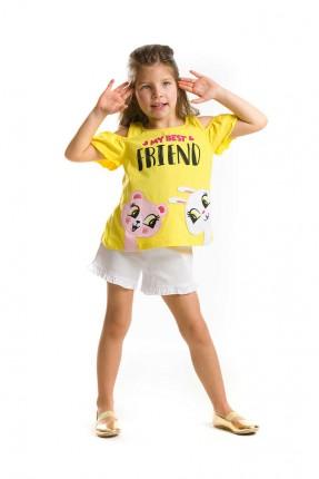 طقم اطفال بناتي شورت - اصفر