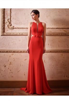 فستان رسمي حفر طويل مفرغ من الجوانب
