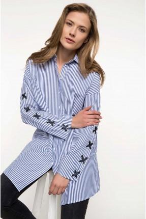 قميص نسائي طويل مع رباطات X على الاكمام - ازرق