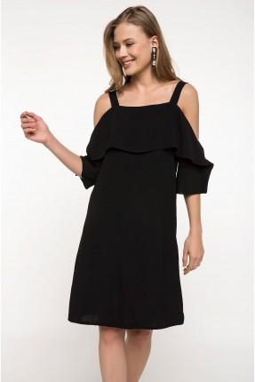 فستان رسمي مع كشكش - اسود