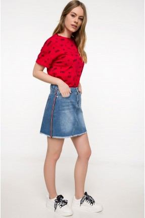 تنورة نسائي جينز مع جيب - ازرق