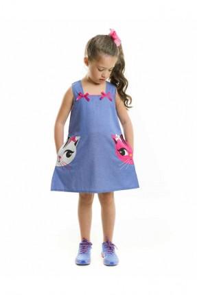 فستان اطفال بناتي مع رسمة قطة على الجيوب