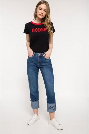 بنطال نسائي جينز مع جيب - ازرق