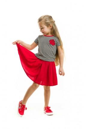 فستان اطفال بناتي منقش مع طبعة وردة - احمر