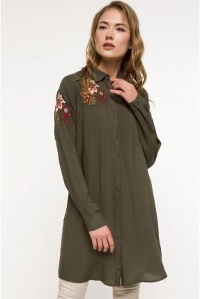 قميص نسائي طويل مطرز - زيتي