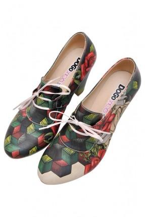 حذاء نسائي بكعب مطبوع ورد سبور