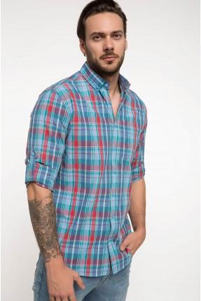 قميص رجالي كاروهات - ازرق