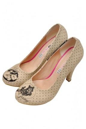 حذاء نسائي بكعب مطبوع نقط وقطط سبور