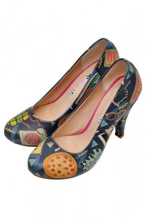 حذاء نسائي بكعب مطبوعة اشكال جميلة سبور