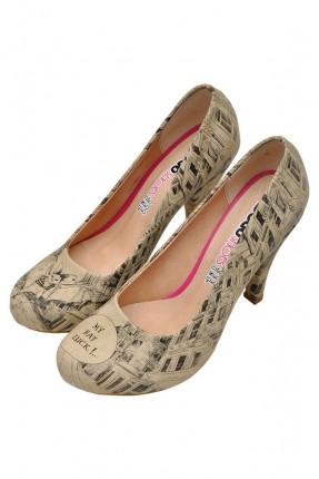 حذاء نسائي بكعب مطبوع خفاش سبور