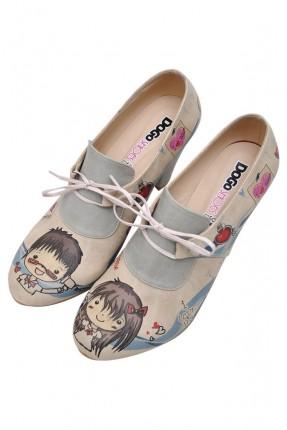 حذاء نسائي بكعب مطبوع طفلين سبور