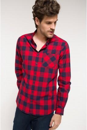 قميص رجالي كاروهات احمر