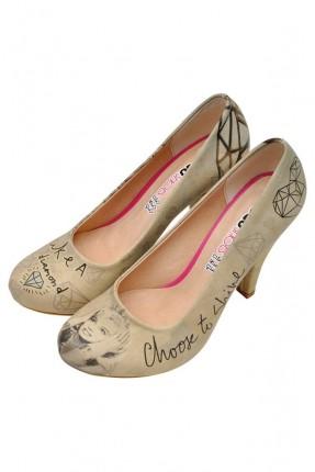 حذاء نسائي بكعب مطبوع مارلين مونرو سبور