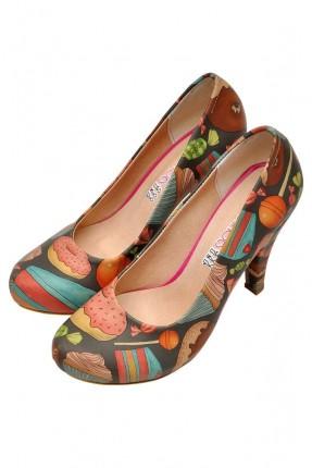 حذاء نسائي بكعب مطبوعة حلويات سبور