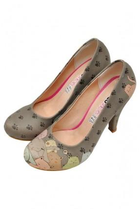 حذاء نسائي بكعب مطبوع قطط متعبة سبور