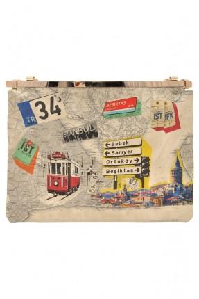 حقيبة يد نسائية مطبوعة بسحاب خلفي سبور