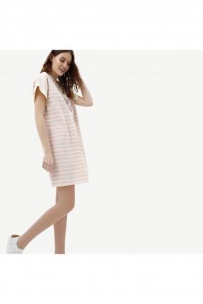 فستان سبور مخطط بياقة v