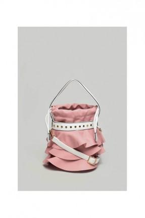 حقيبة يد نسائية مع كشكش - وردي