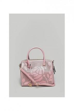 حقيبة يد نسائية مع نقشة وردة - وردي