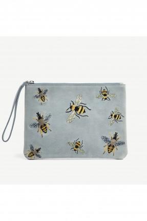 حقيبة يد نسائية جلد مع نقشة نحلة