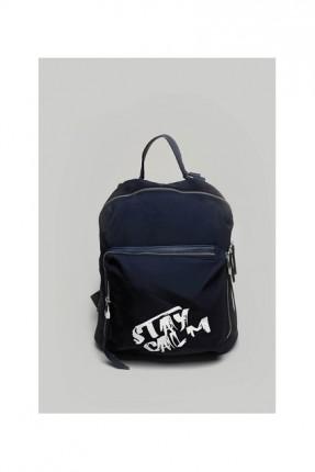 حقيبة ظهر نسائية مع كتابة - ازرق داكن