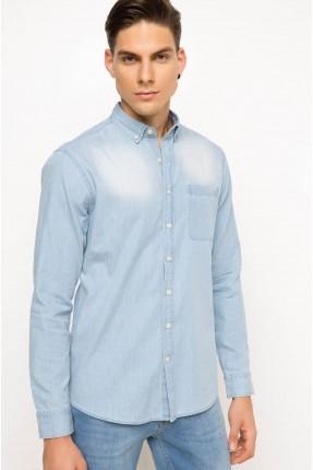 قميص رجالي موديل سليم فيت - ازرق فاتح