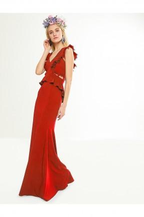 فستان رسمي حفر طويل - احمر